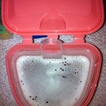 retainers soaking in brimms denture bath
